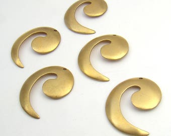 5 pcs blank brass spiral charm stampings, vintage comma components 25mm