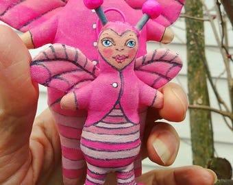Love Bug Valentine Doll Hand Painted Liddle Biddle  Stuffed Plushie Folk Art Cloth Doll Ornament
