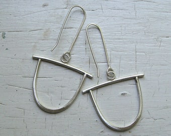 Large Sterling Silver Stirrup Earrings