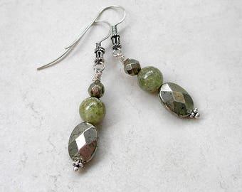 Green Garnet Earrings Pyrite Sterling Silver January Birthstone Metaphysical Healing Stones