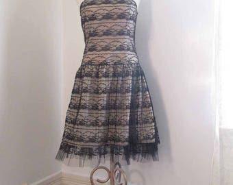 Strapless Black Lace Dress 90s Vintage mini party dress Lace vintage 90s Prom Dress S M