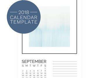 2018 Printable Calendar Template - DIY Calendar - 2018 Calendar Template 5x7 - PhotoShop Photography Template - Art Calendar Template 2018