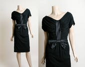 Vintage 1950s Dress - Black Jersey Cotton Wiggle Dress with Large Satin Bow - Semi Off Shoulder - Cocktail Formal Party - Small