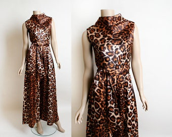 Vintage Leopard Print Jumpsuit - Polynesian Alice Animal Print Cat Palazzo Pant Wide Leg Lounge Jumpsuit with Sash - 1960s 60s - Small