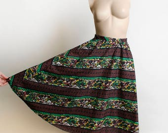 Vintage 1960s Novelty Print Skirt - Floral Deer Print Full Skirt - Chocolate Brown and Lime Green Floral Striped Cotton Skirt - Small