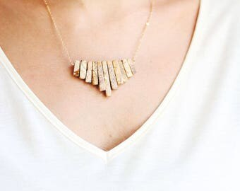 Picture Jasper Tribal Fringe Bib Necklace - 14k Gold Filled | Sterling Silver