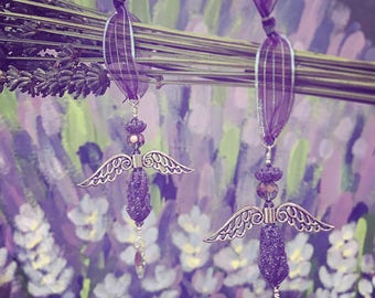 Lavender Glittering Glass Angels