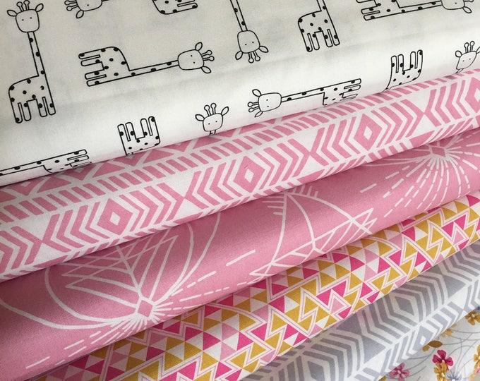 Tribal Fabric Bundle, Boho fabric, Giraffe fabric, Baby Quilt, Wander fabric, Quilting Bundle, Fabric Bundle of 6, Choose your Cuts