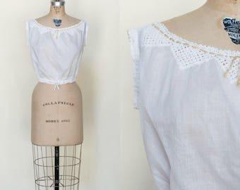 Antique Cotton Camisole --- Vintage 1900s White Blouse