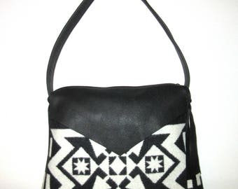 Shoulder Bag Purse Buttery Soft Black Leather Native American Blanket Wool from Pendleton Oregon Southwest Style