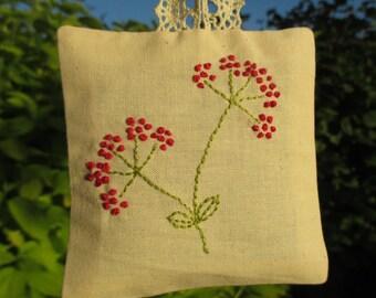 Embroidered lavender sachet bag