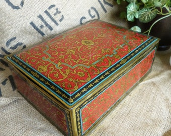 Rich Red & Gold Vintage Canco Hinged Lid Metal Tin Candy Box Intricate Pattern