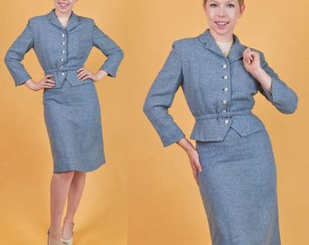 LORD & TAYLOR Vintage 40s Blue Wool 3pc HOURGLASS Skirt Suit Jacket/Blazer Belt xs/s