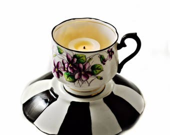 Tea Cup Candle Votive - Antique Royal Albert Bone China - Violets - Tim Burton Inspired - Alice in Wonderland - Tea Lovers Gifts