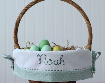 PRE-ORDER 2019 Personalized Easter Basket, Boy Easter Basket Liner fits Pottery Barn Kids, Monogrammed Embroidered Heirloom Liner, Meadow