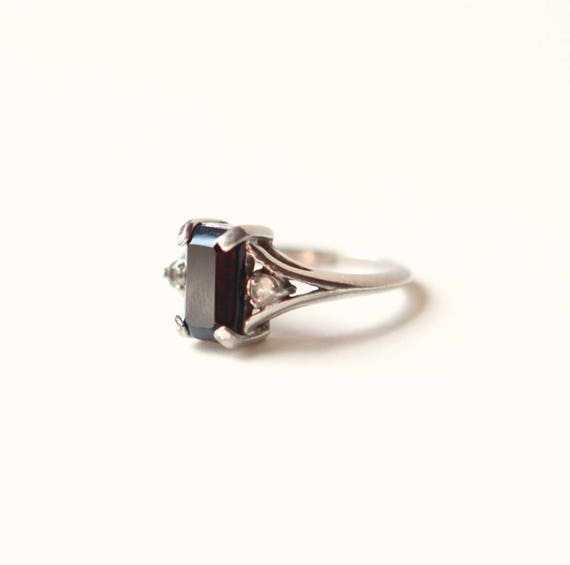 Vintage ONYX ring, Black stone ring, Unique ring gift, Rectangular shaped stone, Sterling silver, Gothic vintage ring, Gift for her - SIZE 6