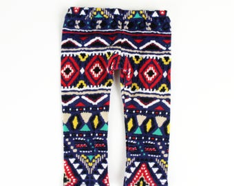 Fits like American Girl Doll Clothes - Navy Ethnic Leggings, Made To Order