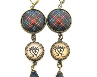 Scottish Tartan Jewelry - Ancient Romance - Royal Stewart (Black) Tartan Earrings w/Luckenbooth Charms and Onyx Black Czech Glass Crystals
