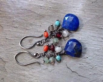 Lapis Lazuli Earrings - Turquoise Earrings - Earthy Earrings - December Earrings- Blue Lapis Earrings- Oxidized Sterling Silver Earrings