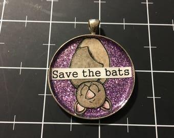 Save the Bats Pendant, Vibrant Purple Glitter : 50% of the Proceeds Goes to Bat World Sanctuary
