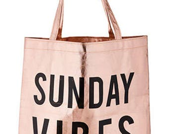 Sunday Vibes Rose Gold Tote Bag