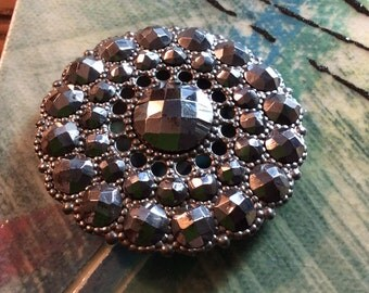 Large Pierced Steel Button set with Riveted faceted Steels