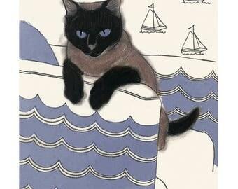 "Cat illustration Sailor Cat - 4"" X 6"" animal portrait"