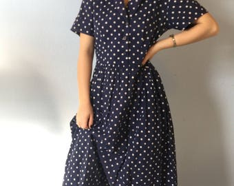 Vintage Shirt Dress - Navy Polka Dot - 1940s Handmade Housedress Medium Classic
