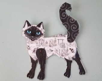 Himalayan Cat Wall Art ~ Articulated Paper Doll ~ Paper Cat Doll ~ Cat Wall Art ~ Cat Painting ~ Siamese Cat ~  Re Positional Wall Art