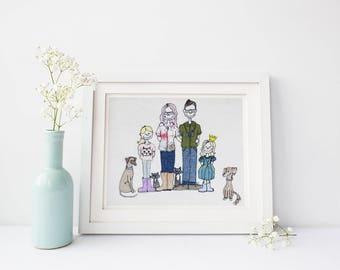 Family portrait, personalised textile portrait, Mother's Day gift idea, A4 textile portrait, fabric, portrait from your photos, family gift
