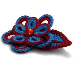 Crochet flower brooch, crochet flower pin, blue and red flower cotton brooch, gift idea for her, romantic Valentine's gift for her
