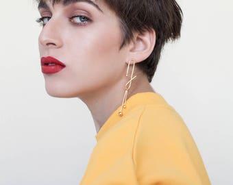 Maggie Earrings, long drop earrings, minimalist gold earrings, geometric gold earrings, gold statement earring, cocktail earring, contour