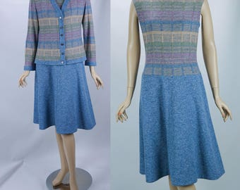 60s - 70s Vintage Dress and Jacket Blue and Pink Dropped Waist by Alfred Werber Sz 12 B36 W30