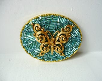 """Belt Buckle for Women - Butterfly Buckle - Aqua Blue - Gold Tone Oval Buckle - Blue Gold Belt Buckle - Womens Gift Ideas - 3.75"""" x 2.5"""""""