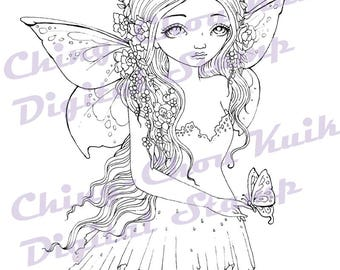 Summer Goddess - Digital Stamp Instant Download / Insect Butterfly Flower Fairy Fantasy Line Art by Ching-Chou Kuik