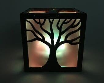 Tree Wood Lantern, Wood Lamp, LED Lantern, Tree Lamp, LED Light, Tree Light Box, Candle Box, Tree Nightlight, Candle Votive, Home Decor,