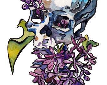 Skull Painting - Lilacs in a Skeleton Art Print by Jen Tracy - Artsy Halloween Decoration - Flowering Skull in Watercolor and Ink