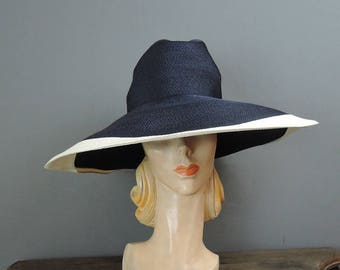 Vintage Hat Wide Brimmed Navy & White Straw Hat, Huge 18 inched Wide, fits 21 inch head, Frank Olive Bullock's 1960s