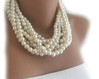 2018 New Design Handmade Layered Chunky Bold Pearl Necklace