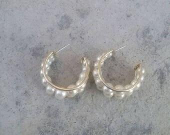 Earrings, Gold and Pearl Earrings, Half Hoop Earrings, 80's Earrings, 80's Jewelry, Pearl Earrings, Pierced Earrings,  Vintage Earrings