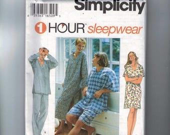 Misses Sewing Pattern Simplicity 9391 Misses Mens Teens Sleepwear Nightshirt Nightgown Pull on Pants Large XL Chest 42 44 46 48 UNCUT