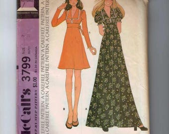1970s Vintage Sewing Pattern McCalls 3799 High Waisted Dress Granny Maxi Size 7 Bust 31 70s 1970s 1973