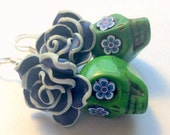 Green and Blue Day of the Dead Roses and Sugar Skull Earrings Large