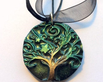 Tree of Life Black Green and Bronze Handmade Polymer Clay Pendant Necklace