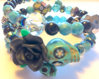 Turquoise and Black Day of the Dead Sugar Skull and Rose Memory Wire Bracelet