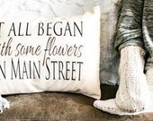 Cotton anniversary, Valentines, It all Began, love story, Personalized pillow, love, romantic, fiancé gift, Christmas, 2nd cotton aniversary
