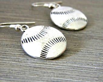 Baseball Earrings Silver Color Sports Earrings
