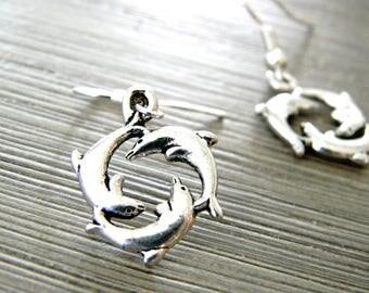 Dolphin Circle Earrings Silver Color Dangle Earrings