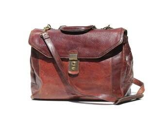 Vintage Burgundy Brown Italian Leather Large Portfolio briefcase Attache Bag