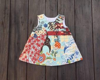 Asian Abstract Sundress for Girls, Flower, Wave, Ocean, Garden, Girl, Baby, Cotton, Sundress, Jumper, Red, Orange, Blue, Tunic, Dress